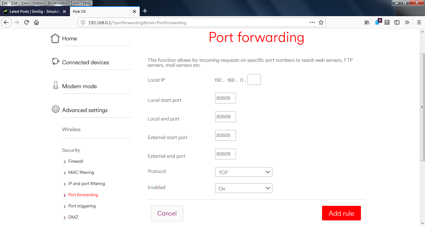 Setting Up Port Forwarding on a VirginMedia V3 Hub | SimSig